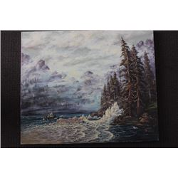 "ORIGINAL OIL PAINTING ON CANVAS SIGNED OTTO JEGODKA ""THE PASSAGE NEAR EGMONT"""
