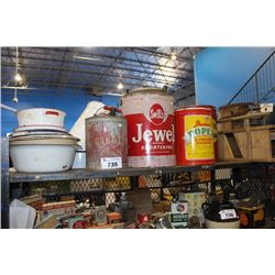 SHELF OF VINTAGE COLLECTABLES INCLUDING TIN CANS, COOKWARE AND MORE