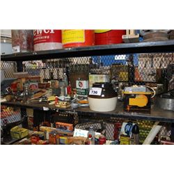 SHELF OF VINTAGE COLLECTABLES INCLUDING KITCHENWARE AND MORE