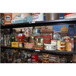 SHELF OF VINTAGE COLLECTABLES INCLUDING SODA BOTTLES, TIN CONTAINERS, AND MORE