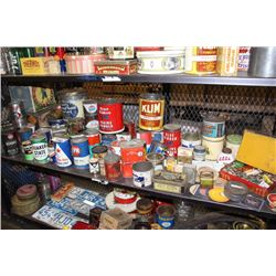 SHELF OF VINTAGE COLLECTABLES INCLUDING TIN CONTAINERS AND MORE