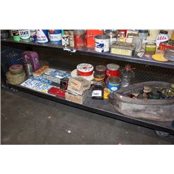 SHELF OF VINTAGE COLLECTABLES INCLUDING TIN CONTAINERS, LICENSE PLATES AND MORE