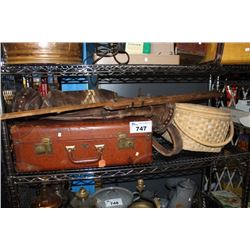 SHELF LOT OF VINTAGE COLLECTABLES INCLUDING SUITCASE, BASKET, GOLF CADDY AND ART EASEL