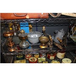 SHELF LOT OF VINTAGE COLLECTABLES INCLUDING OIL LAMP, COOKWARE AND MORE