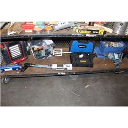 SHELF LOT INCLUDING DEWALT AND MASTERCRAFT TOOLS, CAR AUDIO SYSTEM AND MORE