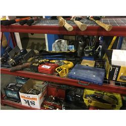 SHELF LOT OF ASSORTED CORDLESS POWER TOOLS & MORE