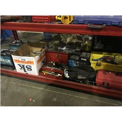 SHELF LOT OF ASSORTED TOOLS, BATTERIES & MORE