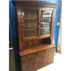 ANTIQUE WOOD WITH GLASS WINDOW DOOR CHINA CABINET