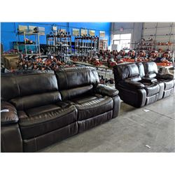 BROWN LEATHER OVERSIZED RECLINING SOFA AND LOVE SEAT