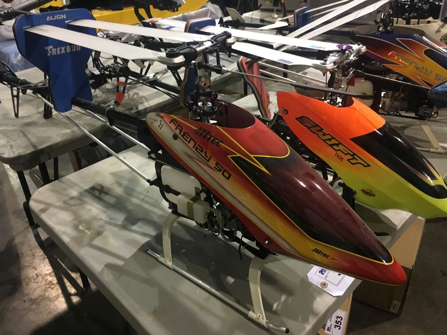 large hitec frenay 50 gas powered rc helicopter - approx 4 ft