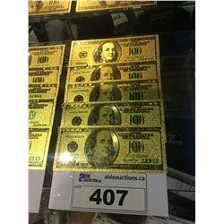 LOT OF 5 - $100 US GOLD FOIL NOVELTY COLLECTOR BILLS