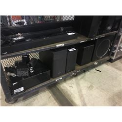 SHELF LOT OF ASSORTED SPEAKERS/SUBWOOFERS