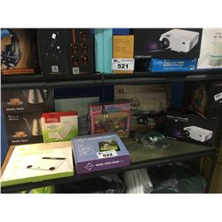 SHELF LOT OF ASSORTED SCALES, PHOTO FRAME, KETTLES, TURNTABLE & MORE