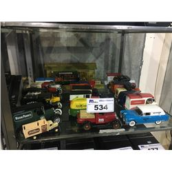 SHELF LOT OF ASSORTED DIECAST METAL COLLECTOR TRUCKS, CARS & MORE