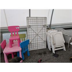 PATIO TABLE WITH CHAIRS AND CHILDREN'S PLAY TABLE SET WITH CHAIRS