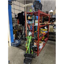 ASSORTED RUBBER BOOTS, BRUSH, KIDS PEDAL CART