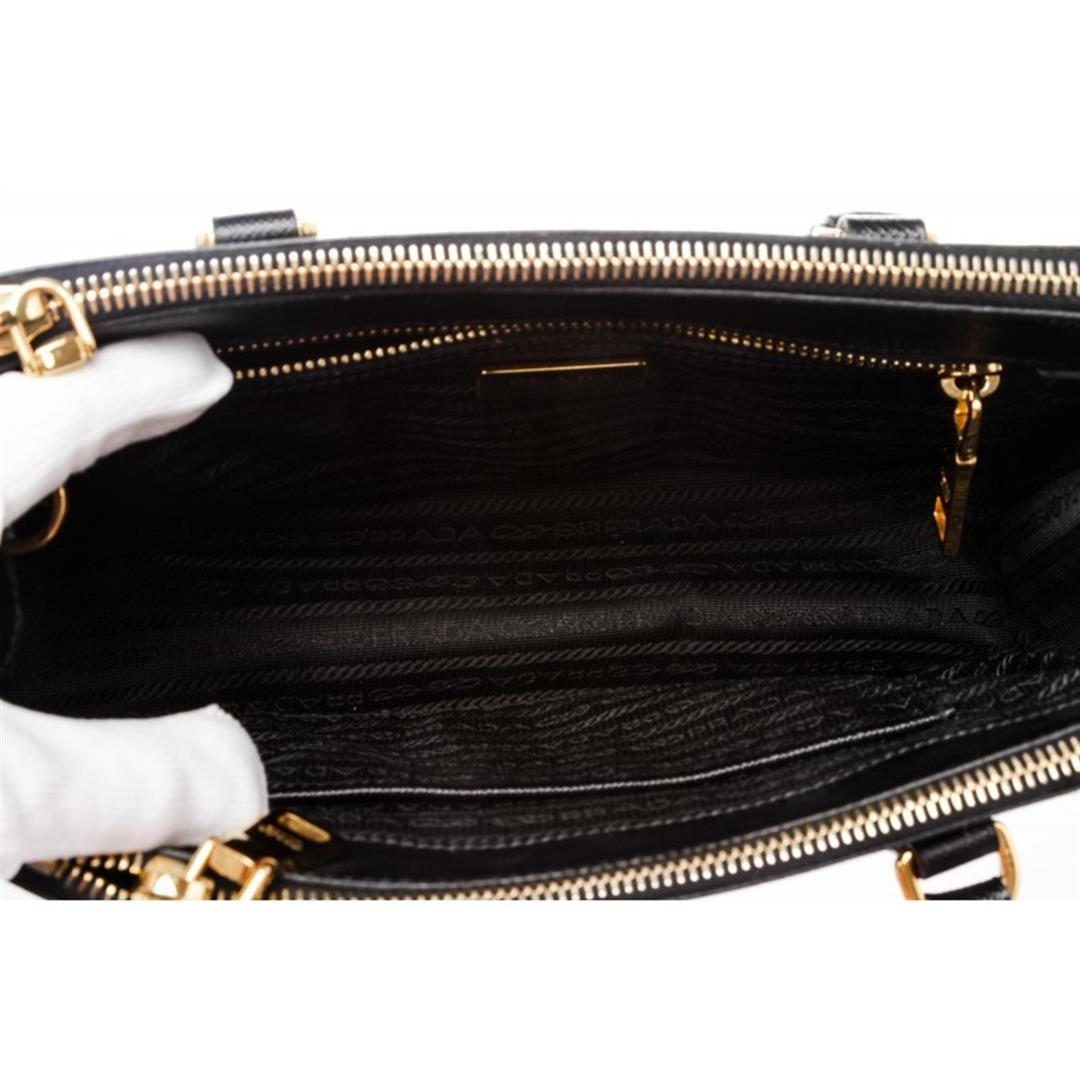 aefd6b8c1a96 ... Image 5   Prada Black Mini Saffiano Lux Galleria Double Zip Tote Bag ...