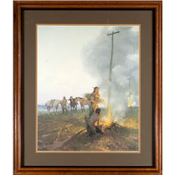 Fires on the Oregon Trail #266/1000  by Tom Lovell