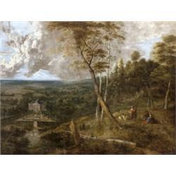 Uden, Lucas van VÉDETT - NO EXPORT (Antwerpen, 1595 - Antwerpen, 1672/73) - Táj pásztorokkal, a völg