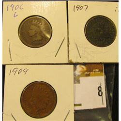 1904, 06, & 07  U.S. Indian Head Cents.