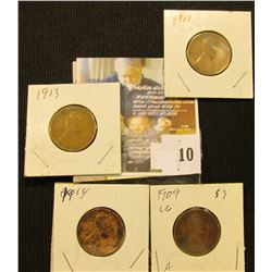 1909 P, 11 P, 13 P, & 14 P Lincoln Cents.