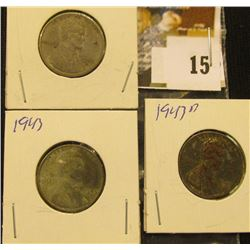 Set of 1943 P, D, & S World War II Steel Lincoln cents.
