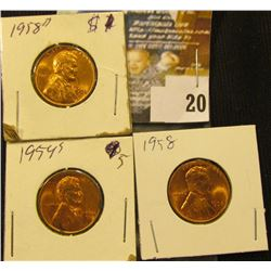 1954 S, 58 P, & 58 D Lincoln Cents, mostly Red BU.