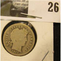 1913 P U.S. Silver Barber Dime,