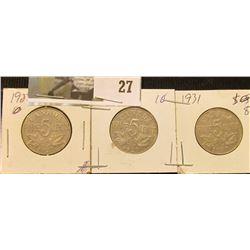 1927, 29, & 31 Canada Nickels.
