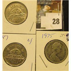 1939, 47, & 75 Canada Nickels. EF.