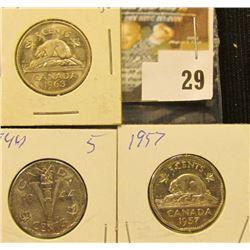 1944, 57, & 63 Canada Nickels. VF-BU