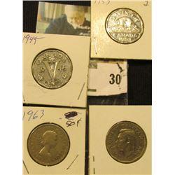 1945, 51 Commemorative, 53, & 63 Canada Nickels. VF-BU