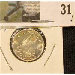 1968 Silver Canada Dime, Gem MS 66.