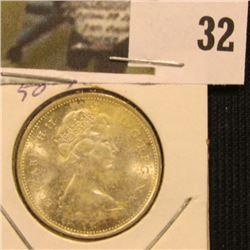1968 Silver Canada Quarter, Brilliant Uncirculated.