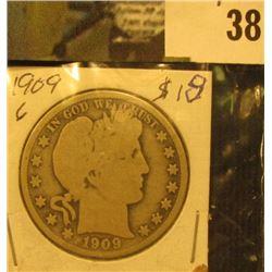 1909 P  U.S. Barber Half Dollar.