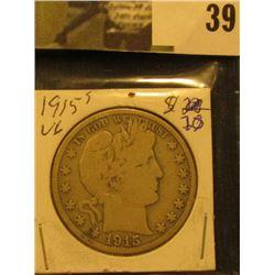 1915 S  U.S. Barber Half Dollar.