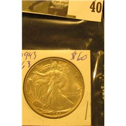 1943 P U.S. Walking Liberty Half Dollar.