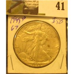 1945 D U.S. Walking Liberty Half Dollar.
