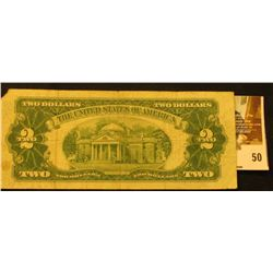 Series 1953 Two Dollar United States Note, S/N A20112457A. UR corner missing.  Red Seal