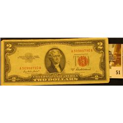 Series 1953A Two Dollar United States Note, S/N A50988790A.  Red Seal