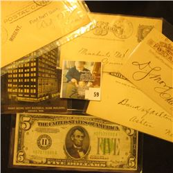 (5) Pieces of Banking memorabilia from Nebraska dating back to 1884, includes: Dec. 5, 1884  The Fir