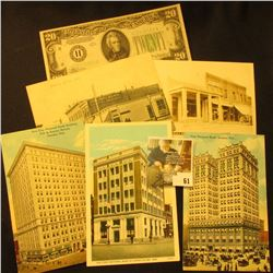 (5) Pieces of Banking memorabilia from Nebraska dating back to 1903, includes: Post Card  First Nati