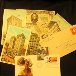 First Day of Issue  The Statue of Liberty  Cover; (5) Pieces of Banking memorabilia from Nebraska da