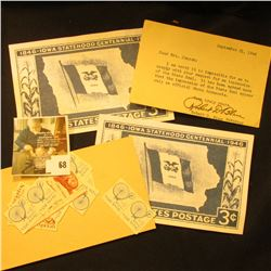 Pair of advertising cards for 1846 Iowa Statehood Centennial 1946 United States 3c postage stamp; gr