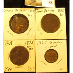1863 Half Penny, 1895 Sea & No Sea One Pennies; & 1967 Great Britain Six Pence, the latter of which