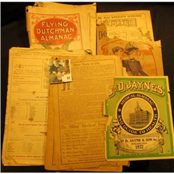 Group of 1912-32 Almanacs. Quite interesting but not great condition. Contains lots of early adverti