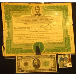 "April 15, 1929  ""Lincoln Gold Corporation""  Stock Certificate Number 181 for 500 Shares, Tear cancel"