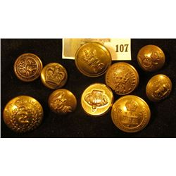 (10) assorted brass military uniform buttons, British, 19th & 20th century