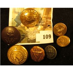 (7) assorted brass and other metal uniform buttons, includes Cub Scouts, YMCA, BPOE, K of C, and an