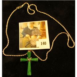 Silver Necklace with malachite and sterling cross, 20  when closed, marked 925